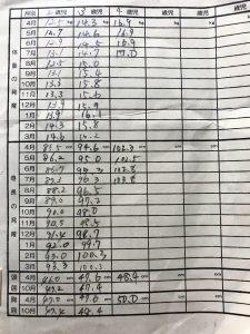 身体測定表